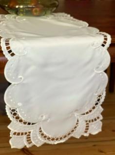 Tischläufer Tischdeckchen Champagne-Weiß Stickerei Tischdecke Neu Ovp