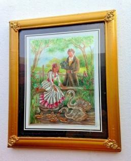Bild mit Rahmen Schwan Schwäne Baby Romantisches Paar Holz optik Gold 31x26cm - Vorschau 1