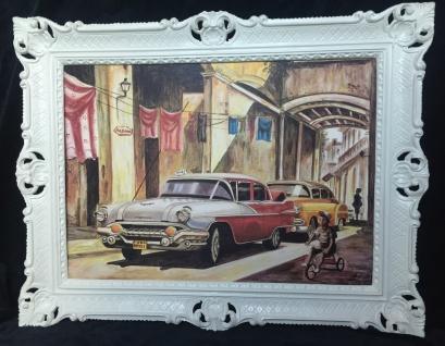 Auto Cuba Rot Pontiac Bild Rahmen Wandbild 70x90 Oldtimer Classic Cuban Auto