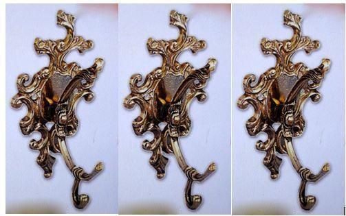 3 x Wandhaken Garderobenhaken Kleiderhaken Antik Messing Haken Gold 11x17