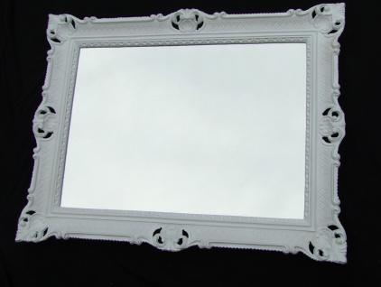 Wandspiegel 90x70 Spiegel BAROCK Rechteckig Antik 1111 Weiß Badspiegel 1