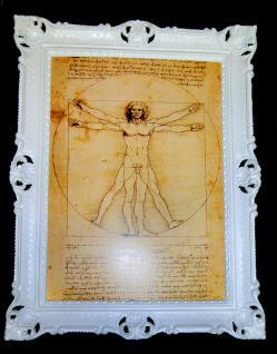 Gemälde Gerahmt LEONARDO DA VINCI BILD* 70x90 Vitruvianischer Mensch Literatur