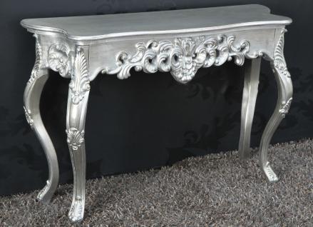 Wandkonsole Silber Sideboard Barock Antik Konsole XL Wandtisch Wandkommode Neu
