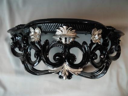 Wandkonsole Schwarz Silber VintageSpiegelkonsole BAROCK/Wandregal ANTIK 40x17cm