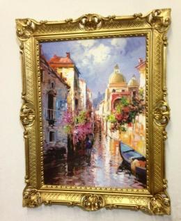 Venedig Brücke Boot Gerahmte Gemälde 90x70 Italien Venezia Venedig Gondel Dom