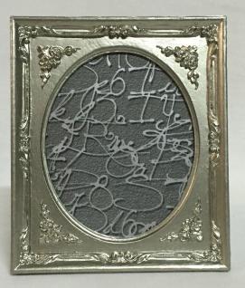 Bilderrahmen oval Antik Silber Barockrahmen Fotorahmen Shabby 19x17 Deko c72p
