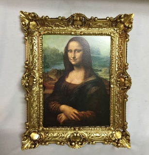 Mona Lisa Bild Gemälde Leonardo da Vinci Barock 56x46 Antik Rahmen Gold 30x40