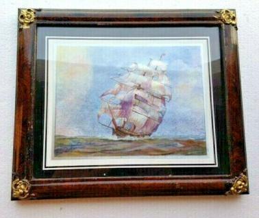Antik Bild mit Rahmen in Barockstil Schiffe Boote Holzoptik Braun 31x26 Rahmen