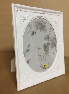 Bilderrahmen oval Weiß Matt 25x21 Barock Fotorahmen Antik Rechteckig C69p - Vorschau 3