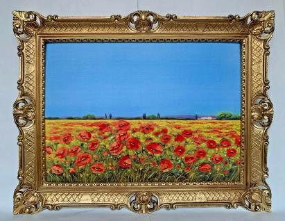 Mohnfelder Mohnblumen Wandbild 90x70 Kunstdruck Barock Landschaftsbild Gemälde