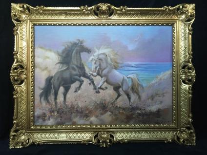 Pferde Bild 90x70 Pferd Gemälde Pferde Schwarzes Hank Pferd Barock Wandbild T2
