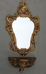 Wandspiegel mit Konsole Gold Barock Spiegelablage 50X76 Antik Wandkonsole