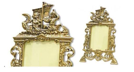 Bilderrahmen Messing Gold Fotorahmen Rahmen mit Engel motiv 25x17Antik- 9x13cm