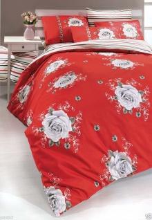 Bettwäsche 4 tlg Baumwolle Ranforce 200x220cm Renforce rot Hotelbettwäsche Rose