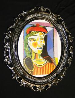 Bild mit Rahmen Picasso Gemälde Bilderrahmen 68x58 Schwarz/Gold Barock Dora Maar