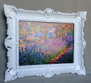 Bild mit Rahmen Weiß Blumen Garten von Monet Wandbild 57x47 Blumenbild 11