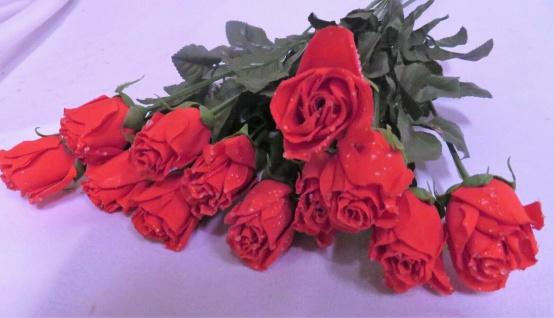 12 x Seidenblumen höhe 69 cm künstliche Rosen Rot Restposten Neu Ware - Vorschau 5