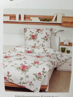 Bettwäsche 135x200 +Kissen 80x80 Janine Feinbiber Blumen muster 100% Baumwolle