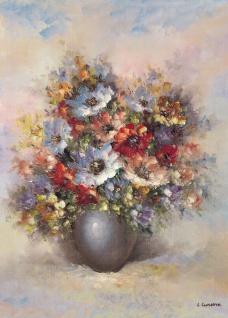 Blumen Bilder 50x70 Blumen mit Vase Blau Bild auf MDF Platte Wandbild