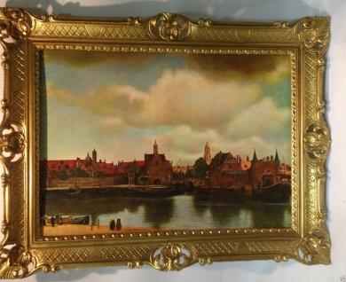 Gemälde Stadt See Landschaftsgemälde Meer Hafenstadt 90x70 Wohnzimmerbild NR 18