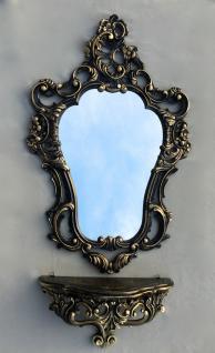 Wandspiegel Schwarz Gold Barock mit Wandkonsole Antik 50X76 Spiegelablage Retro