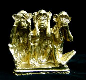 3 Affen figuren Dreiaffen12 x11x4 GOLD Tiere nicht sehen hören sagen figur