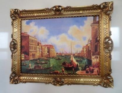 Bilder mit Rahmen Italien Venedig Gondeln 90x70 Gemälde Venedig Canal de Grande