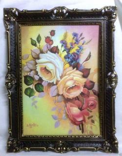 Gerahmte Gemälde BLUMEN Rosen Bild 90X70 BILDERRAHMEN Bild mit Rahmen