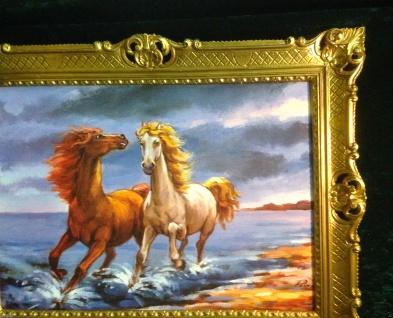 Gemälde Pferd Bild 90x70cm Barock Ölbild Kunstdruck Pferde am Meer Tiere Pferd 1 - Vorschau 4