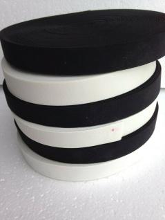 10 Meter Gummikordel Gummiband Hosengummi Gummilitze 25 mm Weiß-Schwarz kochfest - Vorschau 2