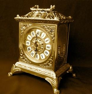 Kaminuhr Set Messing mit Kerzenständer Barock Tischuhr*Antik*Uhr Kaminset Uhr - Vorschau 4