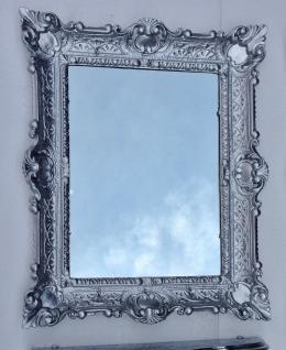 Wandspiegel Silber barock 56x46 Badspiegel Flurspiegel Rokoko Frisierspiegel