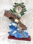 Pendeluhr Kaminuhr Tischuhr 30x20cm Seeadler Skulptur Adler Figur Standuhr Vogel