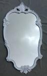 WANDSPIEGEL Weiß Hochglanz Oval 99x55 Antik Spiegel Barock Friseurspiegel C410
