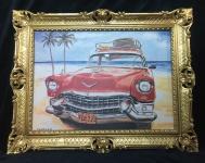 Auto Cuba Taxi Rot Bild Rahmen 70x90 Oldtimer Classic Cuban Auto Wandbild