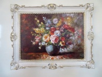 Gerahmte Gemälde Blumen Bilder 90x70 Blumen mit Vase Blau Bild mit Rahmen 01-04