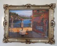 Landschafts Bild ITALIEN Cafe am See 90x70 Bild mit Rahmen Antik Silber seeblick