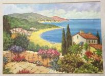 Landschafts Bild Haus am See Gemälde Haus am See 50x70 MDF Rückwand L9