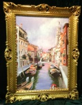 Venedig Brücke Boot Gerahmte Gemälde 90x70 Italien Venezia Venedig Gondel