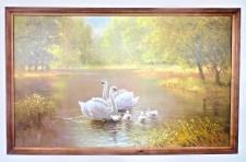 Bild Schwäne am Fluss gerahmte Gemälde Holz105x66 Kunstdruck Bild Landschafts