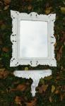 Wandspiegel mit Konsole Ablage Barock Weiß Wandablage Badspiegel Shabby 45x37