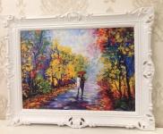 Bild mit Rahmen Romantisches Bild Herbst 90x70cm Kunstdruck Bild Wandbild deko