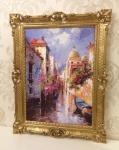 Bild mit Rahmen Venedig Italien 90x70cm Kunstdruck Bild Wandbild Italien Gondel