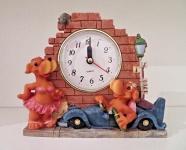 Hundefigur mit Uhr Deko Uhr 16cm Tischuhr Kaminuhr Figuren Uhren Kinderzimmeruhr