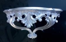 Wandkonsole Silber hochglanz Barock 38x20 Spiegelkonsole/Wandregal ANTIK