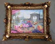 Blumen und Früchte Gemälde gedeckte Tisch Obstgarten 56x46 mit Rahmen Barock 01