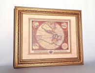 Weltatlas mit Holz Bilderrahmen 64x54 Antik Weltkarte Historisch Wandbild