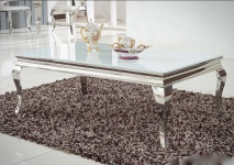 Couchtisch Edelstahl Glas Wohnzimmertisch 130x70 cm Beistelltisch Design
