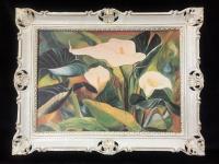 Calla Blumen Bild 90x70 Bild mit Rahmen Rosen BLUMEN Calla Gemälde gerahmt B8