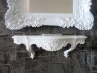 Wandkonsole Barock Weiß Konsole Antik Wandablage Rokoko 49 cm Shabby Hängeregal